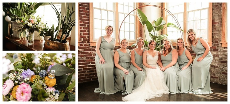 bride and bridal party and bouquets with rings