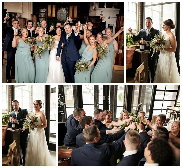 wedding party champagne toast after ceremony