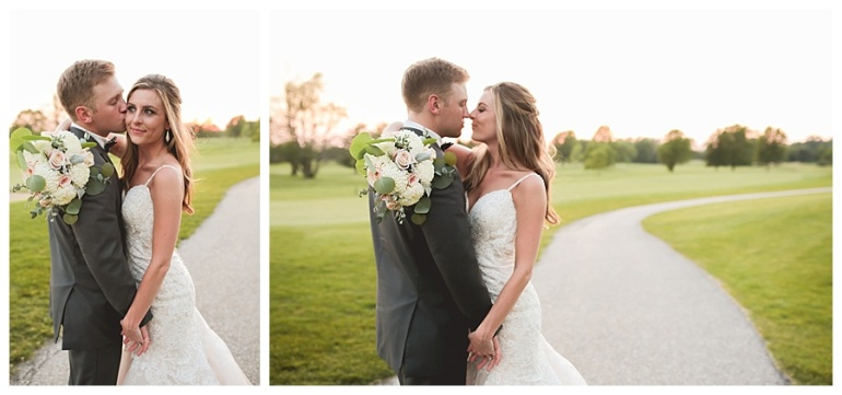 bride and groom embracing posed golf club indiana