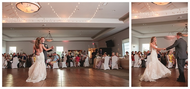 bride and grooms first dance golf club indiana