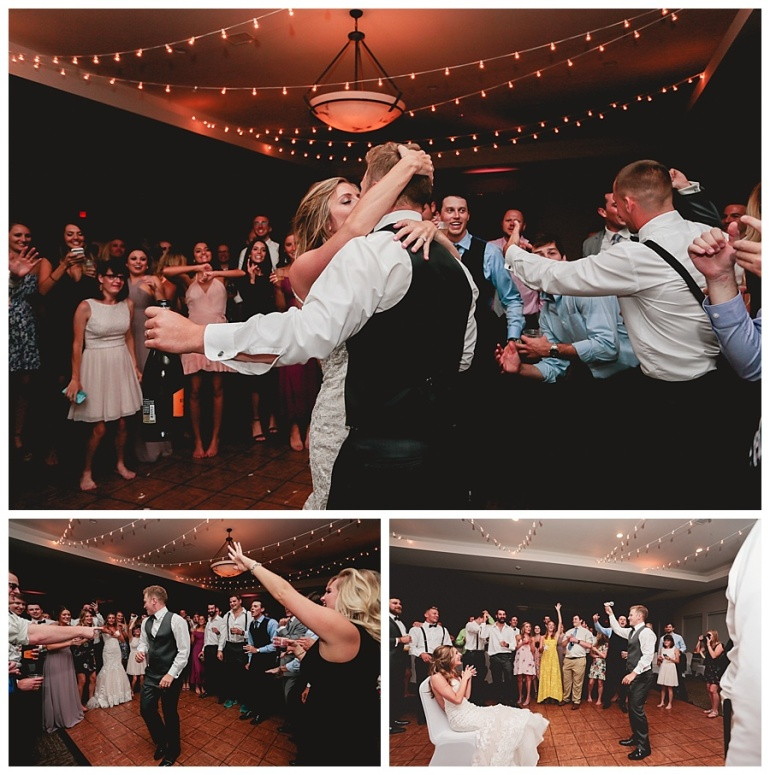 bride and groom dancing garter toss golf club indiana