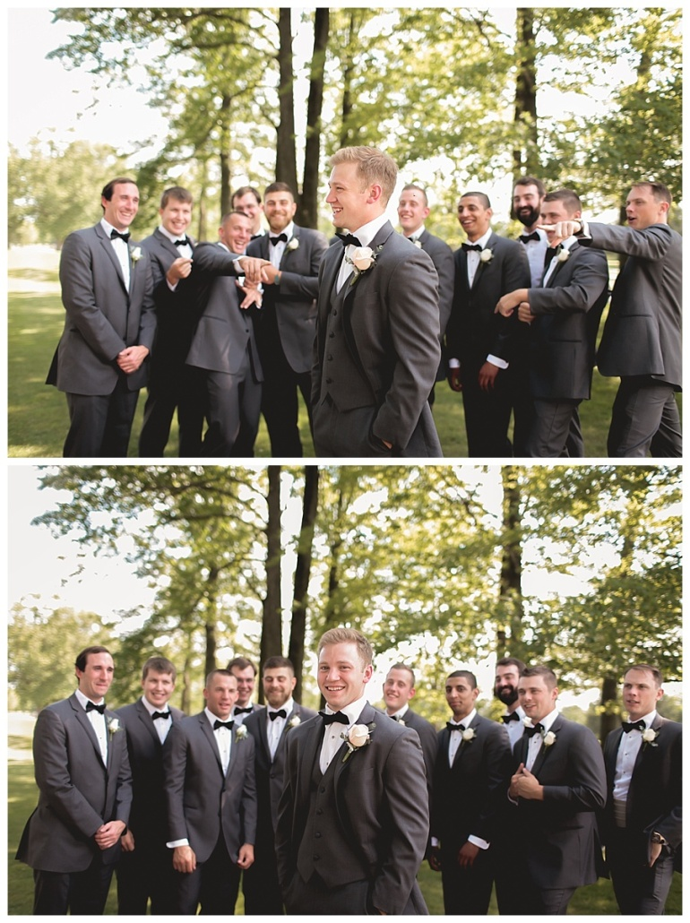 groom and groomsmen smiling and laughing having fun