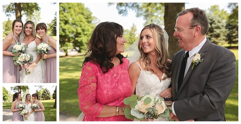 bride with family smiling
